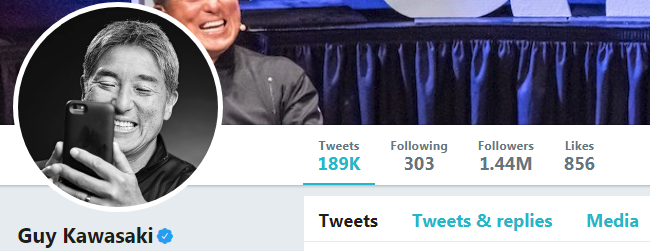 Screenshot of Guy Kawasaki's Twitter account - one of the digital marketing experts at Twitter