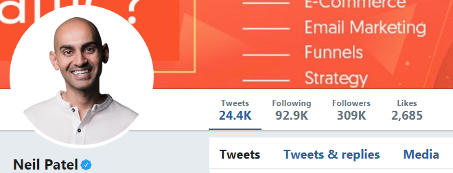 Screenshot of Neil Patel's Twitter account - one of the digital marketing experts at Twitter