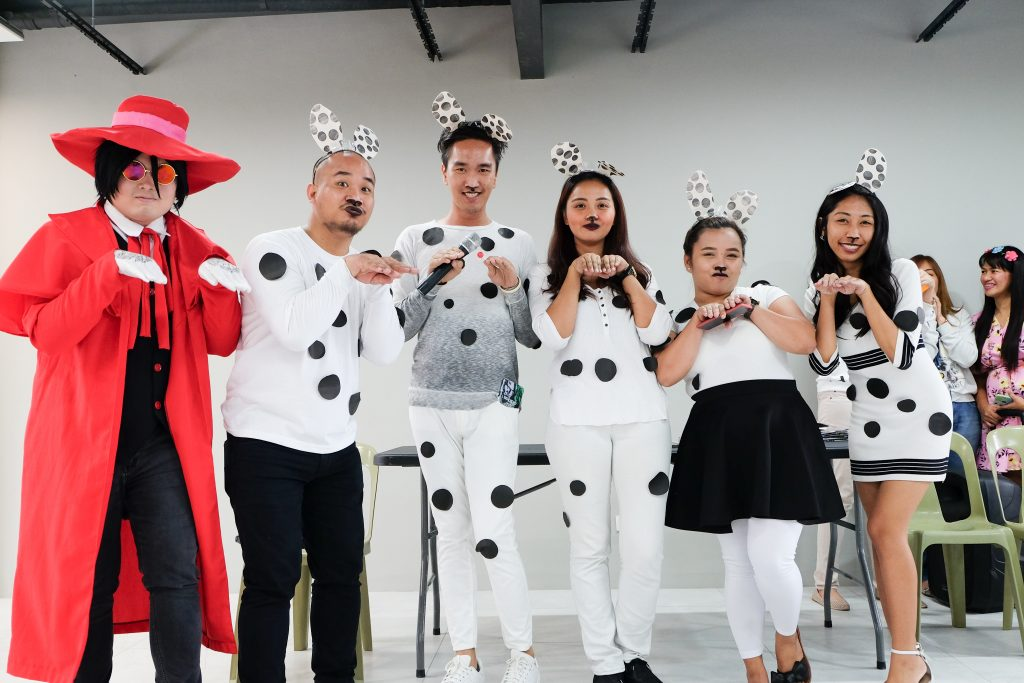 Members of the CDD Team dressed up as puppies/dogs as part of FilWeb Asia in 2018 events